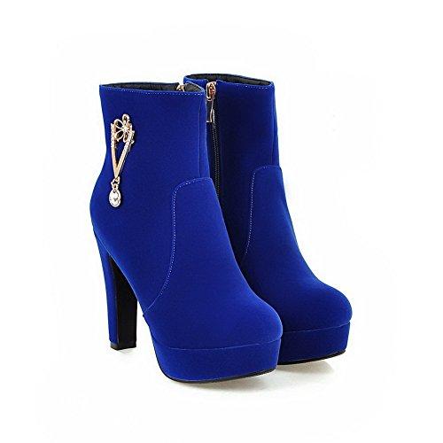 AllhqFashion Damen Nubukleder Niedrig-Spitze Eingelegt Reißverschluss Stiefel Blau