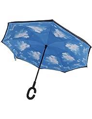 Parapluie inversé Canne CONMING Protection UV coupe-vent arrière pliant double couche soleil et parapluie pluie pour Voyage et voiture
