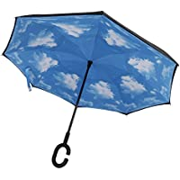 AUTOPKIO Lancette a forma di C FreeHandle invertito ombrello, a doppio strato invertito Standing Inside Out parapioggia ombrello