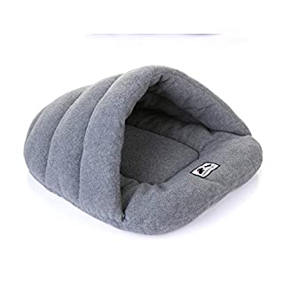 Addfun Pet Bed, reg;Luxury Pet Nest Half Covered Soft Cozy Sleeping Bag Mat for Dogs Cat Rabbit,Gray