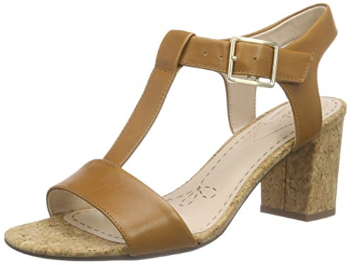 Clarks Smart Deva, Damen Knöchelriemchen Sandalen, Braun (Tan Leather), 41 EU (7 Damen UK)
