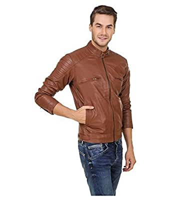 Malvina Men's Pu Faux Leather Jacket(Mal-Men-Lthr-Jckt/Tan_Dark Brown_Large)