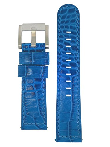 TW Steel Marc Coblen Armband Uhrenband Leder 22 MM Kroko blau LB_BL_K_S