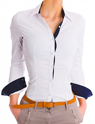 Damen Figurbetonte Langarm Bluse Business Hemd Tailliert (468), Farbe:Weiß, Größe:Small (Hemden Aus Casual Seide)