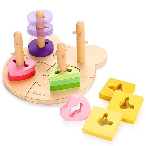 Peradix Steckpuzzle Sortierspiel Holzpuzzles Steckspiel Holz Steckwürfel Kinder Sortier Kätschen Baby Holzspielzeug für 1 bis 3 Jahre (Bäre-Platte)