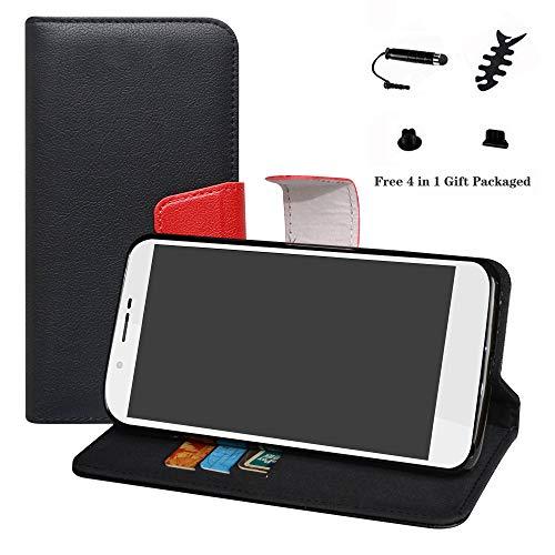 LFDZ Archos 55 Helium Hülle, [Standfunktion] [Kartenfächern] PU-Leder Schutzhülle Brieftasche Handyhülle für Archos 55 Helium / 55 Helium Ultra Smartphone (mit 4in1 Geschenk Verpackt),Schwarz
