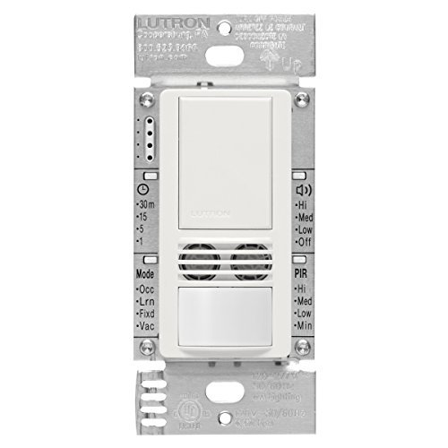 Lutron MS-A102-WH Maestro Dual Tech Occupancy Sensor Switch, no neutral required, 6 Amp Single-Pole, White by Lutron (Single Pole Dual Switch)