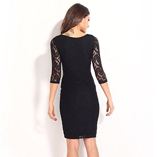 PU&PU Mode féminine Détente / Sortie Robe fourreau à lacets Robe ronde Manchettes trois-quarts Genouillère Black