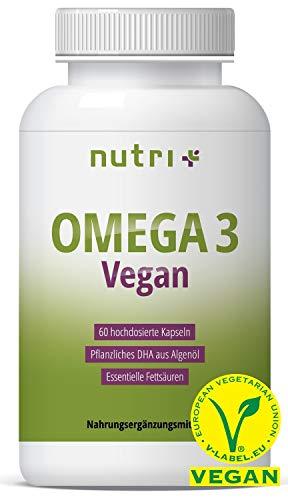 OMEGA-3 VEGAN - Essentielle O3-Fettsäuren aus Algenöl - vegane Kapseln - hochdosiertes veganes DHA Öl 800mg - pflanzlich & vegetarisch - ohne Fischöl, Rind & Gelantine