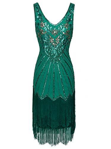 FAIRY COUPLE 1920er Gatsby Kurz Pailletten Flapper Kleid Quasten Saum Abschlussball Cocktail...
