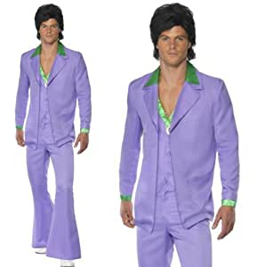 Mens 70s 80s Saturday Night Fever Disco Lavender Flares Suit Fancy Dress Costume SMALL