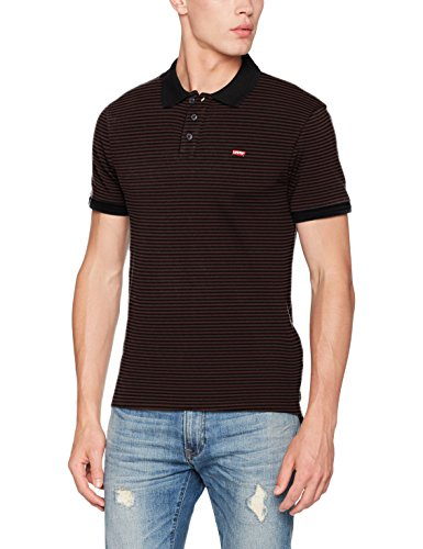 Levi's Herren T-Shirt Housemark Polo, Schwarz (Pluck Stripe Puce/Black Beauty 59), XX-Large (Herstellergröße:XXL-) (Shirt Stripe Black)