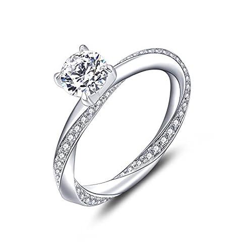 YL Bague Femme en Argent 925 Sterling Bague de fiançailles Bague de mariage Pour femmes et nuptiale