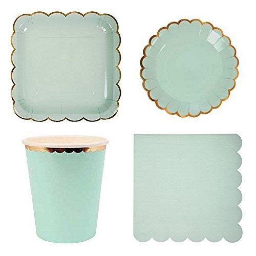 Farbe Party Geschirr, Einweg Papier Geschirr-Set für Geburtstag Hochzeit Decor (8rund Gerichte, 8quadratisch Gerichte, 8Pappbecher, 20Papier Servietten) mintgrün