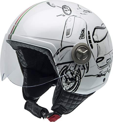NZI Zeta Grafik Offenes Gesicht Motorradhelm, Glanz W-Vespa Turia, Größe XXS