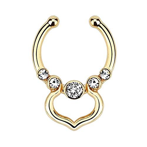 BodyJewelryonline Erwachsenen-Piercing Septum Aufhänger mit Venus Design und klare Edelsteine - verkauft jedes (Gold)