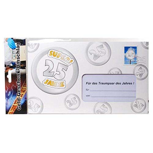Geld-Geschenk-Umschlag Riesenumschlag 25 Silberhochzeit silberne Hochzeit Gutscheinkarte