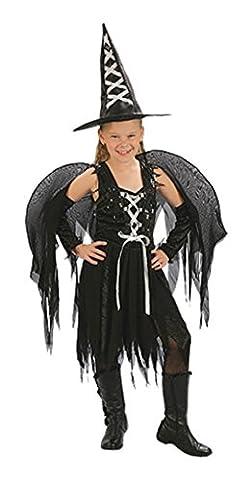 Kinder Mädchen Halloween Winged Hexe Kostüm Alter 4-12 Jahre (Medium (Age 7-9 Years), Schwarz)