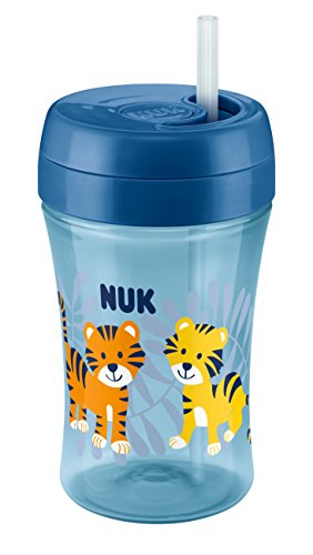 NUK 10255361 Easy Learning Fun Cup, mit versenkbarem Trinkhalm, 300 ml, ab 18 Monate, Boy, blau