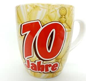 """Cadeau d'anniversaire tasse de café thé cappuccino tasse tasse tasse à café avec inscription en allemand """"70 ans» idée cadeau idéale pour les anniversaire"""