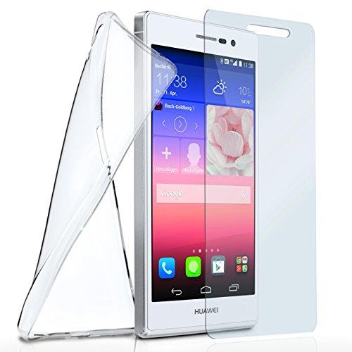 moex Silikon-Hülle für Huawei P7 | + Panzerglas Set [360 Grad] Glas Schutz-Folie mit Back-Cover Transparent Handy-Hülle Huawei Ascend P7 Case Slim Schutzhülle Panzerfolie