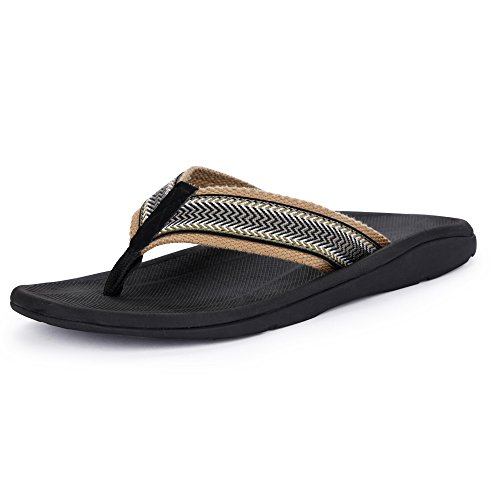 SESSOM&CO Men's Orthotic Sandals with Great Arch Support Stylish Flip Flops Sandals for Plantar Fasciitis