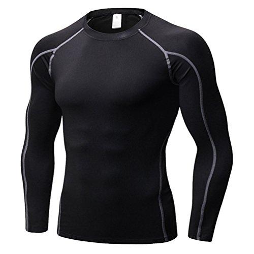 Yujeet Hombres Apretado Fitness Camiseta Deportiva Transpirable con Mangas Largas Elasticidad Compresión Correr Ropa De Entrenamiento como La Imagen4 XL