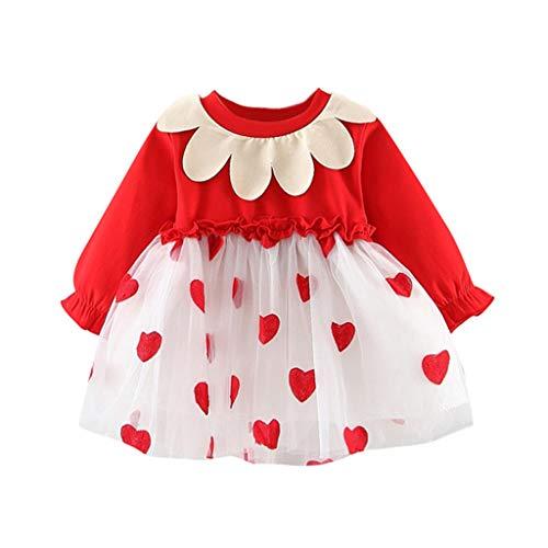 Livoral Baby Born zubehor Kleinkind Baby Kinder Mädchen Langarm Karotten Print Tüll Patchwork Kleider Kleidung(Rot,100)