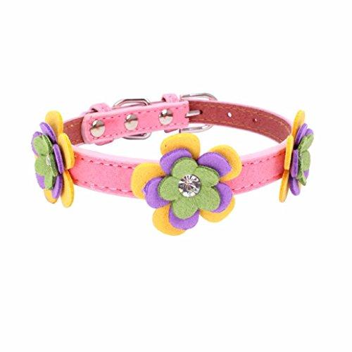 SOMESUN Haustier Halsbänder Hund Leuchtendes Halsbänder Exquisite verstellbare gesponnene Diamant-Blumen-Hundewelpen-Haustier-Kragen (20-26CM, rosa)