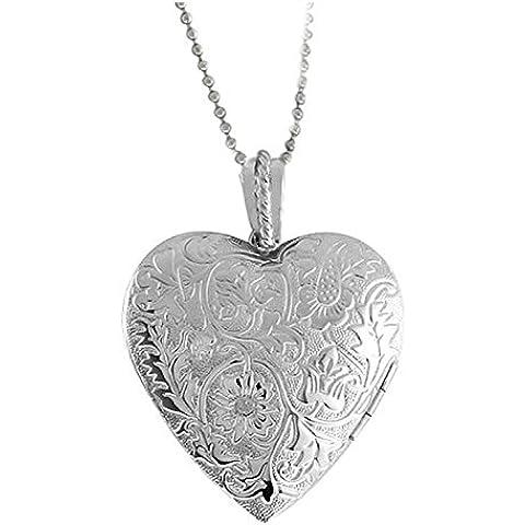 Generic Argento placcato Fiore inciso a forma di cuore pendente della collana Locket per donne e