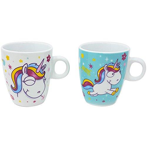 com-four® 2X Taza de café Unicornio en Blanco y Turquesa, Taza de Cacao mágico con Motivos de Unicornio mágico, 180 ml (02 Piezas - Taza Mix1)