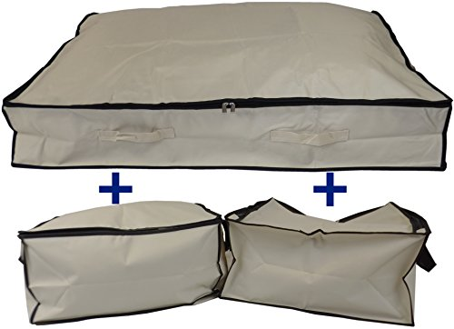 Neusu Bett Aufbewahrungsbeutel Value Pack–1x 130Liter (XL) + 2x 50Liter (S) (Bettdecke Voll Vorhänge Bettwäsche)