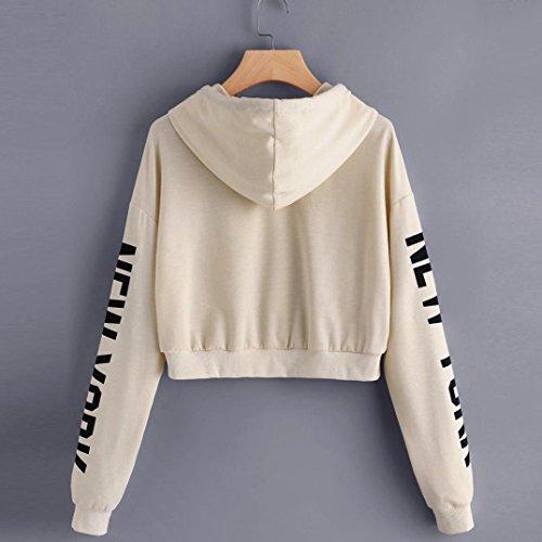 Angelof Sweatshirt Femme A Capuche Femmes Lettres à Manches Longues Courte Sweat-Shirt Pull-Over Chemisier Beige