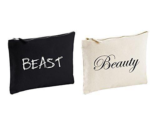 Couples sac lavage set Belle et la bête Cadeau Voyage Trousse de Toilette Mariage Anniversaire Noël ST.VALENTIN présent