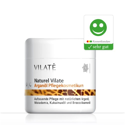 Vilate Arganöl Gesichtscreme / 100 ml mit Arganöl, Makadamiaöl, Kukuinußöl und Broccolisamenöl