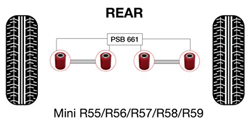 PSB PSB661 Kit de baguettes en polyuréthane pour bras latéraux supérieur/inférieur R50, 52, 53, 55, 57, 58, 59, 60, 61 (2001-2016)