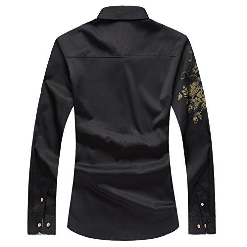 Honghu Herren Freizeit Modern Fit Stretch Langarm Stehkragen Hemden Schwarz