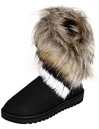 Botas Mujer,Ouneed ®Botas de mujer de moda plana de piel de tobillo forrado de invierno caliente zapatos de nieve