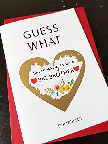 Pregnancy announcement card for sun A BIG BROTHER mum husband dad Oven in the Bun Baby Shower new mum to be baby shower new baby card scratch off card