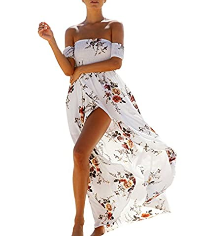 COUSIN CANAL Femmes Sexy Épaules Dos nu Robe Floral Maxi Blanc XL