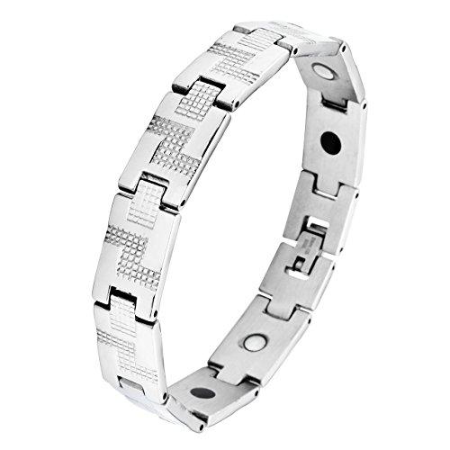 Arm-tweed (Zysta Schmuck Herren Magnetarmband aus Edeltahl Magnet Armbänder Magnetisch Armreif Rechteck-Tweed Form Armband mit Reparatur,Silber)