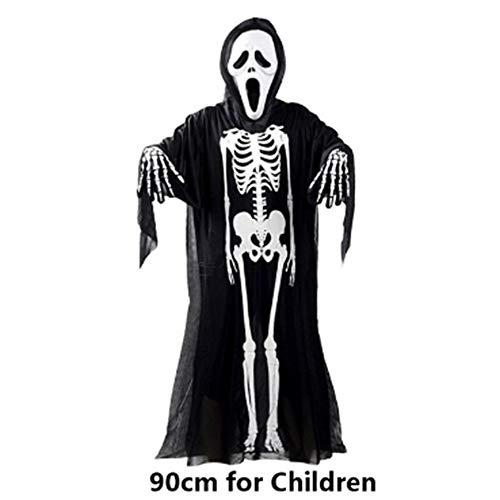 Goods Prom Halloween Skelett KostümHalloween Kostüm Schädel Skelett Dämon Geist Cosplay Kostüme Kinder und Kinder Karneval Maskerade Kleid Scary Kleider Maske, 90cm ()