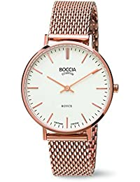 Boccia Women's Quartz Watch with White Dial Analogue Display and Rose Gold Titanium Bracelet B3590-09