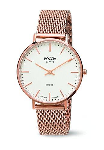 Boccia Women's Quartz Watch with White Dial Analogue Display and Rose Gold Titanium Bracelet B3590-0