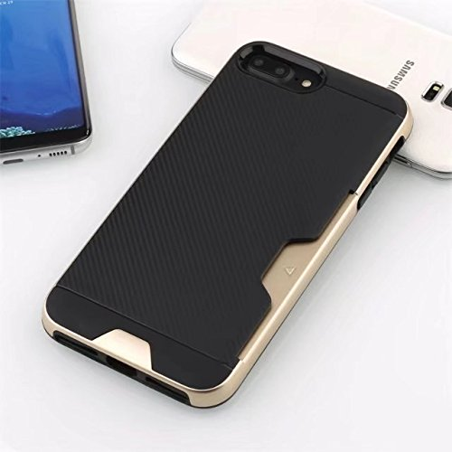 NEW SOFT CARBON TPU MOBILE CASE WITH CARD POCKET FOR APPLE IPHONE 7PLUS /IPHONE 8PLUS BLACK GOLD
