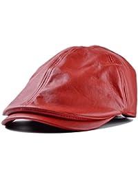 Amlaiworld Gorras de Cuero Vintage Beret de Hombre Mujer Sombrero Plano  Niños niñas Viseras Unisex Boina Sombrero 2ccb8778bc8