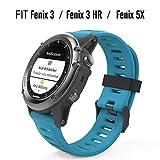 MoKo Pulsera Compatible con Garmin Fenix 3/Fenix 3 HR/Fenix 5X/5X Plus/D2 Delta PX, Correa Pulsera de Silicona Respirable y Reemplazable, Banda de Reloj Deportivo con Cierre - Azul