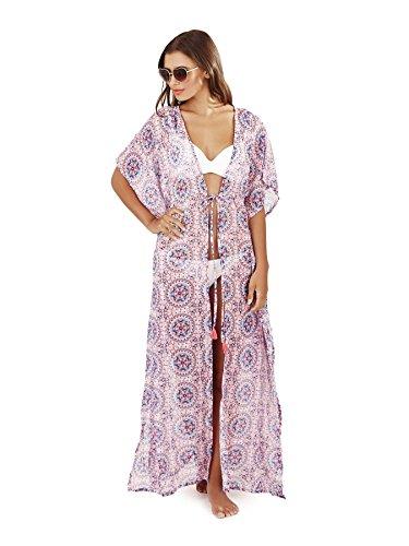 Boutique, Damen Maxi Chiffon Bedruckt Kaftan Pink Azteken