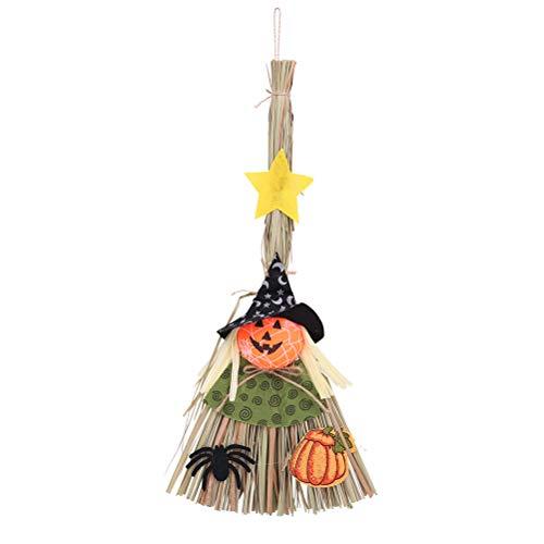 BESTOYARD Hexe Besen Handwerk Stroh Besen für Bar Halloween Spukhaus Dekoration (Schwarzer Hut) (Stroh-hüte Für Handwerk)
