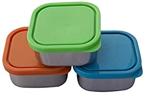MIRA Set of 3 square Stainless Steel Lunch Box and Food Storage Snack Container
